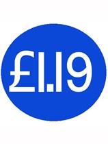 1000 Blue £1.19 Price Stickers - Single Roll