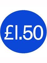 1000 Blue £1.50 Price Stickers - Single Roll