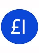 1000 Blue £1 Price Stickers - Single Roll