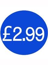 1000 Blue £2.99 Price Stickers - Single Roll