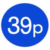 1000 Blue 39p Price Stickers - Single Roll