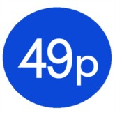 1000 Blue 49p Price Stickers - Single Roll