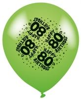 Age 80 Asst. Colour Latex Balloons 8pk