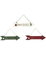 Santa's Grotto Christmas Wooden Sign
