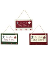 Santa Stop Here Wooden Sign