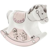 Pink Rocking Horse Ceramic Money Bank