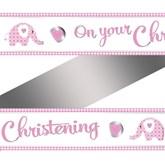 Pink Elephant On Your Christening Foil Banner