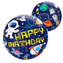 Qualatex Space Happy Birthday Bubble Balloon
