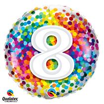 8th Birthday colourful 18 inch round foil balloon