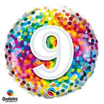 9th Birthday colourful 18 inch round foil balloon