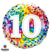 10th Birthday colourful 18 inch round foil balloon