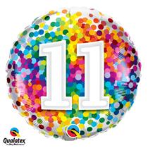 11th Birthday colourful 18 inch round foil balloon