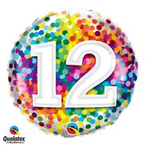 12th Birthday colourful 18 inch round foil balloon