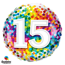 15th Birthday colourful 18 inch round foil balloon