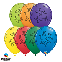 Assorted colour latex balloon dogs 11 inch balloons 25 pack