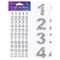 Eleganza Silver Craft Number Stickers