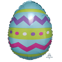 """Easter Egg Striped 18"""" Foil Balloon Party Decoration"""