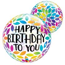 Happy Birthday rainbow petals Qualatex bubble balloon