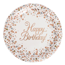 Sparkling Fizz Rose gold happy birthday party plates 8 pack