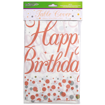 Sparkling Fizz Rose Gold Plastic Birthday Tablecover Cloth
