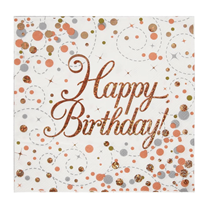 rose gold sparkling fizz happy birthday lunch party napkin
