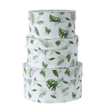 White Round Hat Box Leaf Print Set Of 3