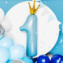 Sky Blue First Birthday Number One Foil Balloon Decoration
