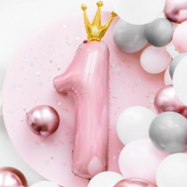 Pink First Birthday Foil Number One Balloon Party Decoration