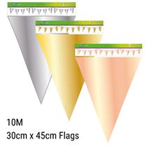 Giant Metallic Silver Rose Gold Flag Banner Bunting