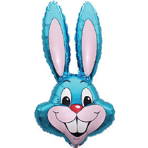 Jumbo light blue rabbit head easter bunny foil balloon