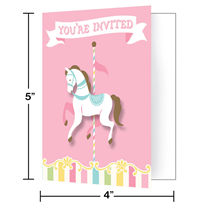 Pink Horse Carousel Party Invitations Baby Shower