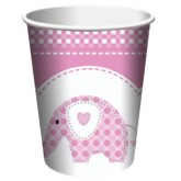 Pink Sweet Baby Elephant 9oz Paper Cups - 8pk