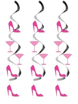 Shoes & Cocktails Hanging Swirl Decorations 5pk