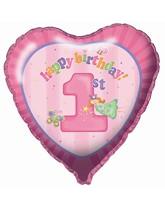 """18"""" 1st Birthday Heart Foil Balloon"""