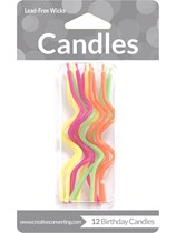 Crazy Curl Neon Party Candles 12pk