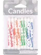 Happy Birthday Party Candles 8pk