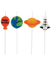 Space Blast Happy Birthday Party Candles 4pk