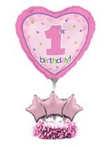 Pink 1st Birthday Air Fill Balloon Centrepiece Kit
