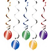 Balloon Blast Hanging Swirl Decorations 5pk