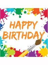 Art Party Happy Birthday Luncheon Napkins 16pk