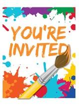 Art Party Invitations & Envelopes 8pk