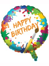 "Art Party Happy Birthday 18"" Foil Balloon"