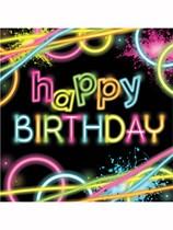 Glow Party Happy Birthday Luncheon Napkins 16pk