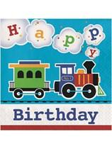 All Aboard Train Happy Birthday Luncheon Napkins 16pk