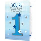 Twinkle Little One 1st Birthday Blue Invitations 8pk