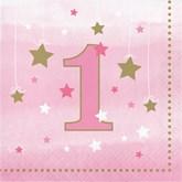 Pink Twinkle Little Star 1st Birthday Napkins 16pk