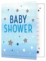 Blue Twinkle Little Star Baby Shower Invitations & Envelopes 8pk
