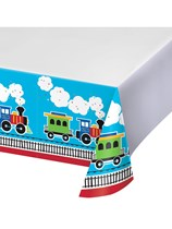 All Aboard Train Plastic Tablecover