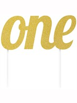 Gold Glitter First Birthday One Cake Topper