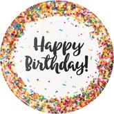 Confetti Sprinkles Happy Birthday 23cm Dinner Plates 8pk